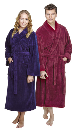 bathrobes for women and men in various styles and colors.