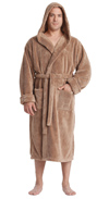 Sateen Touch Hooded Fleece Bathrobe
